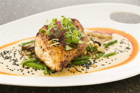 Fish with greens and asparagus